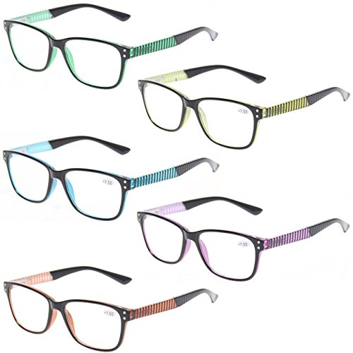 READING GLASSES 5 Pack Fashion Unisex Readers Spring Hinge With Stylish Pattern Designed Glasses (5 MIx Color, 2.25)