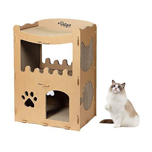 petique ペントハウス キャット [ 猫 つめとぎ 7個内蔵 / 小型猫 中型猫 大型猫 その他小動物 対応/簡単組み立て式 : 耐荷重20kg / 高圧縮紙で頑丈 ] キャットタワー 段ボール 爪とぎ ネコ 爪とぎ ダンボール 猫 おもちゃ つめと