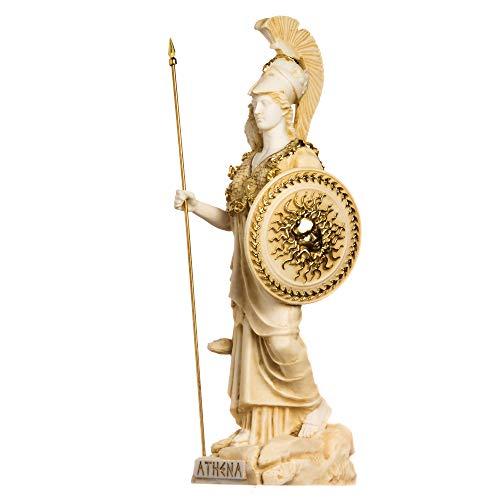 BeautifulGreekStatues Athena mit Eule, Medusa mit Schild, griechische Göttin, Alabaster, Statue, Gold, 37 cm