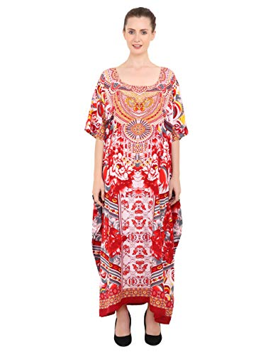 Miss Lavish London Kaftan Tunika in Übergröße, Maxikleid, Nachtwäsche, verziert Gr. 46-50, 133-rot