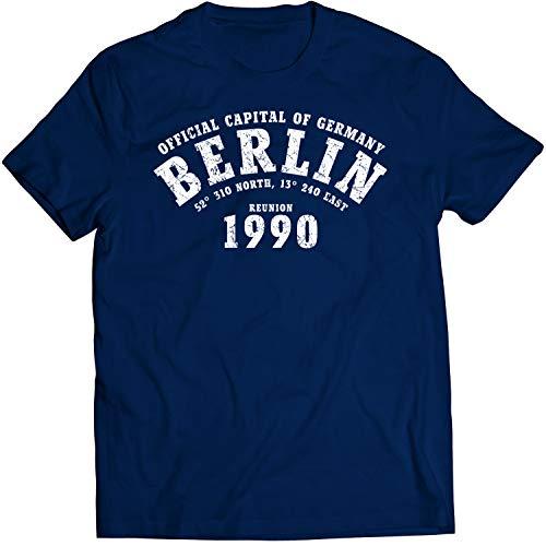 Camiseta Berlín 1990 Alemania | Hombres Manga Corta Azul Oscuro | Cuello Redondo | Regalo y Souvenir Directamente Desde Berlín