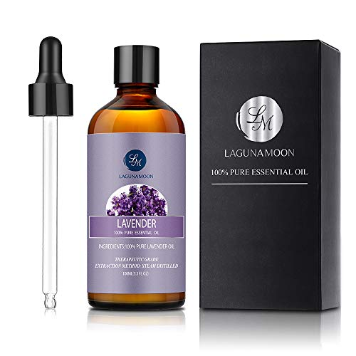 Lagunamoon Lavender Essential Oil, Aromatherapy Essential Oils for Diffuser Relaxation Skin Hair Sleep, Glass Bottle with Dropper - 3.3 Ounce