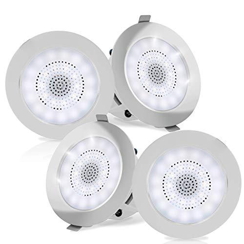 """3.5"""" Ceiling Wall Mount Speakers - 2-Way Full Range Sound Stereo Speaker Flush Design w/Bluetooth LED Light Aluminum Frame Housing 60Hz - 20kHz Frequency Response & 280 Watts Peak - Pyle PDIC4CBTL35B"""