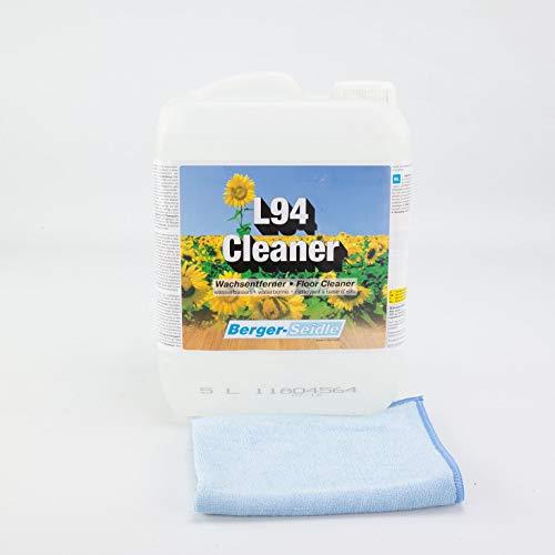 Berger-Seidle set, L94 Cleaner | waxverwijderaar, parketreiniger | verzegeld hout en parketvloeren, 5 liter | met extra polijst- en reinigingsdoekje | perfecte verzorging