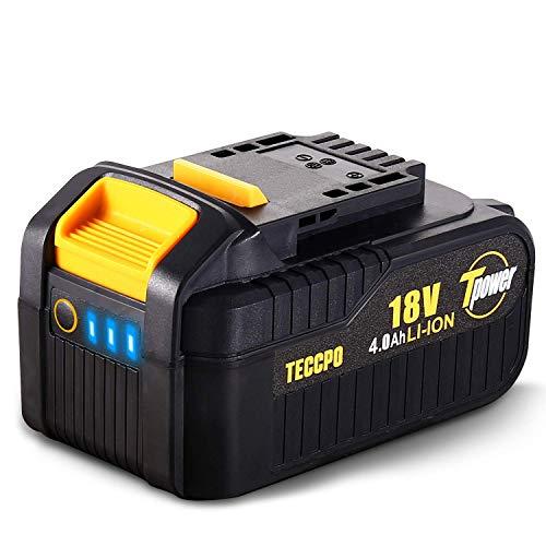 TECCPO 18V 4.0 Ah Batería de Repuesto para TECCPO&POPOMAN, Batería 18V Recargable de Ion de Litio, para Todas las Herramientas Eléctricas sin Cable 18 V de TECCPO&POPOMAN