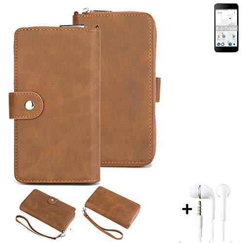 K-S-Trade Handy-Schutz-Hülle Für Thomson Friendly TH101 + Kopfhörer Portemonnee Tasche Wallet-Hülle Bookstyle-Etui Braun (1x)