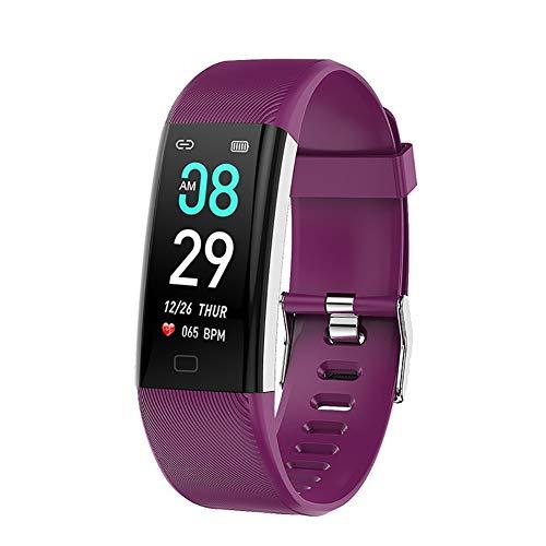 YZY 2019 New Fitnessarmband, fitnesshorloge met hartslagmeter, waterdicht, IP68, intelligente horloges, pedometer, activity tracker, stappenteller, voor kinderen en vrouwen, paars