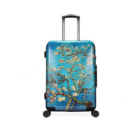 WAAGE Van Gogh Apricot Flower suitcase 20'' 8-wheel silent international light travel bag TSA lock portable suitcase popular color compact portable travel bag X908