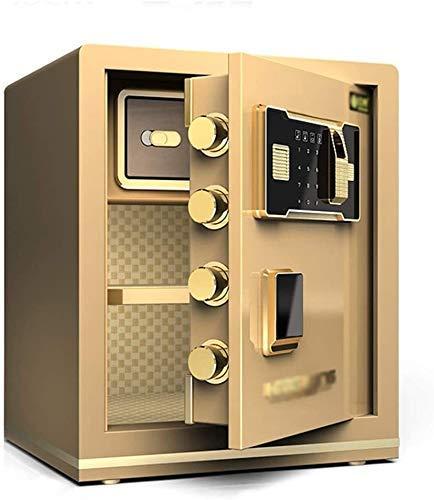 Pistol Veilig, 45cm All-Steel Safe, vingerafdruk + Key + Wachtwoord, Beveiliging Kluis Kluis 3C Certified Veilig, voor kantoor of thuis gebruik,Gold