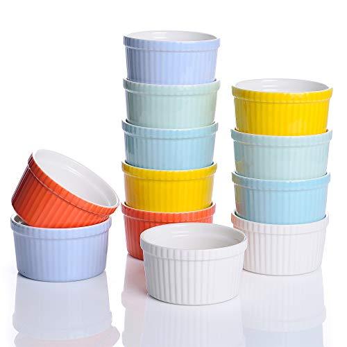 LOVECASA Pirottini in Ceramica 9CM Pirottini per Soufflé, set di 12 Mini Ciotola di Dessert Perfette per fare Creme Brulees Muffin Cupcakes Dessert, Stampi soufflé