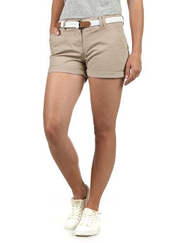 DESIRES Chanett Damen Chino Shorts Bermuda Kurze Hose mit Gürtel Stretch, Größe:38, Farbe:Simple Taupe (0162)