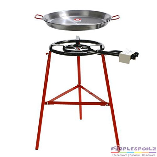 Garcima Tabarca Paella Pan Set with Burner, 20 Inch Carbon Steel Outdoor Pan and Reinforced Legs...