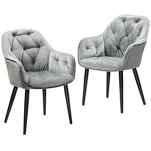 DICTAC Esszimmerstühle 2er Set Polsterstuhl Küchenstühle Wohnzimmerstühle Samt Stühle mit Armlehne Metallbeine