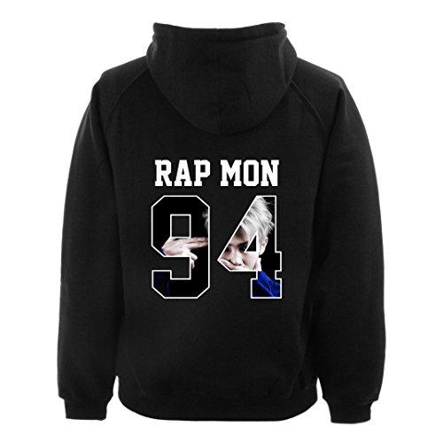 Felpa con cappuccio, con la stampa del Rap Monster, Kim Nam Joon, per ragazzi che fanno parte di un gruppo K-pop. Black Taglia unica