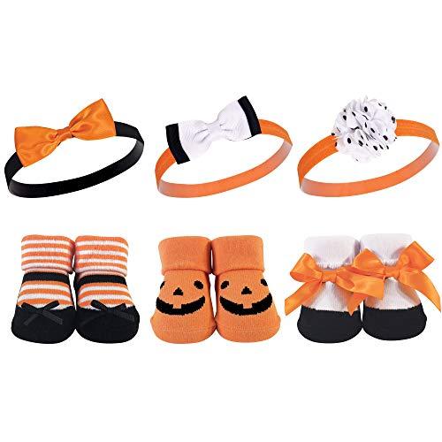 Hudson Baby Unisex Baby Headband and Socks Giftset, Pumpkin, One Size