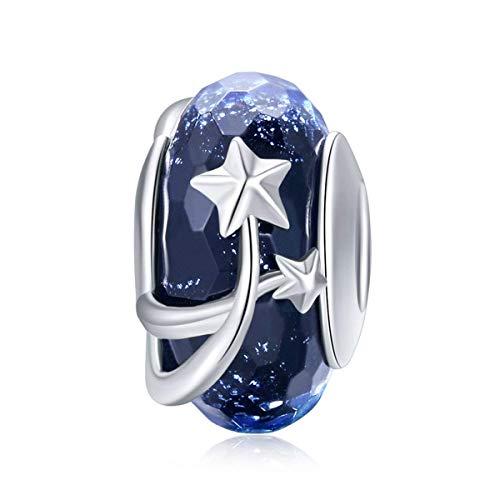 Charm in vetro di Murano, in argento sterling 925, blu con fiocchi di neve, regalo di Natale, per braccialetti Pandora fai da te