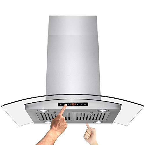 AKDY Island Mount Range Hood 36' Stainless-Steel Hood Fan for Kitchen 3-Speed Professional Quiet Motor Dual LCD Touch Panel