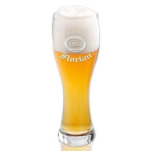 Leonardo Weizenbierglas mit individueller Gravur eines Bierlogo [3] + Name + Jahr | Vatertag | Geburtstag | Jubiläum