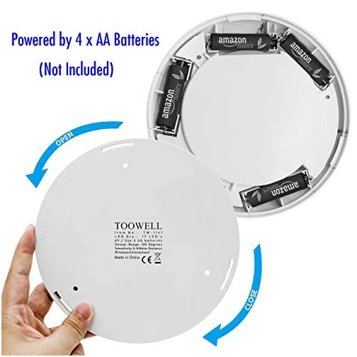 TOOWELL Motion Sensor Ceiling Light Battery Operated Wireless Motion Sensing Activated LED Light White 180 Lumen Indoor… 5