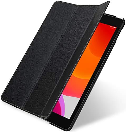 """StilGut Couverture entwickelt für iPad 10.2"""" (2019) Hülle aus Leder - iPad 7. Generation Hülle mit Smart Cover + Standfunktion, Lederhülle - Schwarz"""