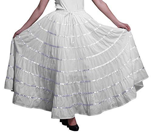 Phagun Falda Larga De Algodón De Las Mujeres 9 Falda De Círculo Completo Maxi Summer Clothing
