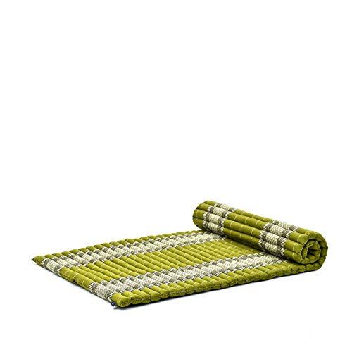 Leewadee Rollbare Thai Matte, 200x105x5 cm, Breite Gästematratze Yogamatte Massagematte Ökologisches Naturprodukt, Kapok, grün
