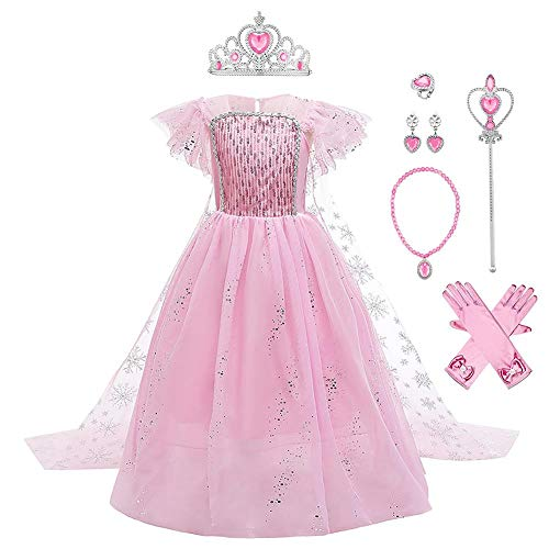 IWEMEK - Disfraz de princesa Elsa con capa + accesorios de Frozen, 2 disfraz de carnaval Halloween y Navidad, vestido de fiesta de cumpleaños para niños de 4 a 9 años Rose Set 7-8 Años