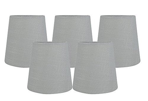 Meriville Kronleuchter-Lampenschirme zum Aufstecken, Leinen, 8,9 x 11,4 x 11,4 cm, Grau, 5 Stück