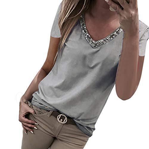 Luckycat Blusa Mujer Manga Corta con Lentejuelas Camisas Elegante Shirts Color Sólido Camisetas Cuello V Pullover Tops Camiseta de Lentejuela Casual de Mujer Camisa de Verano T Shirt Camisola Tops