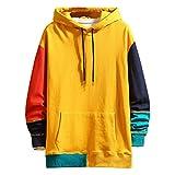 Overdose Sudadera Hombres Patchwork Slim Fit Hoodie OtoñO Moda Outwear Nueva Blusa Adolescente Top 2018 Sudadera (Large, Naranja)