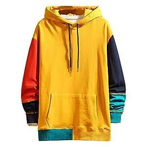 Overdose Sudadera Hombres Patchwork Slim Fit Hoodie OtoñO Moda Outwear Nueva Blusa Adolescente Top 2018 Sudadera (Medium, Naranja)