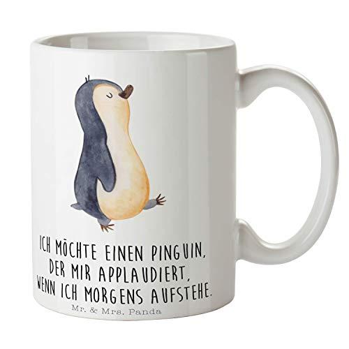 Mr. & Mrs. Panda Becher, Frühstück, Tasse Pinguin marschierend mit Spruch - Farbe Weiß