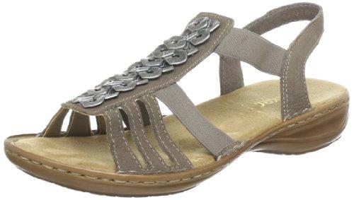Rieker Damen 67271 Offene Sandalen mit Keilabsatz, Beige (Fango / 64), 40 EU