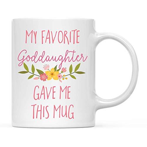 N\A Divertida Taza de café, Regalo de mordaza, mi ahijada Favorita me DIO Esta Taza, Flores Florales, 1 Paquete, Madrina, Padrino, cumpleaños, Navidad, Humor sarcástico, Ideas de Regalo