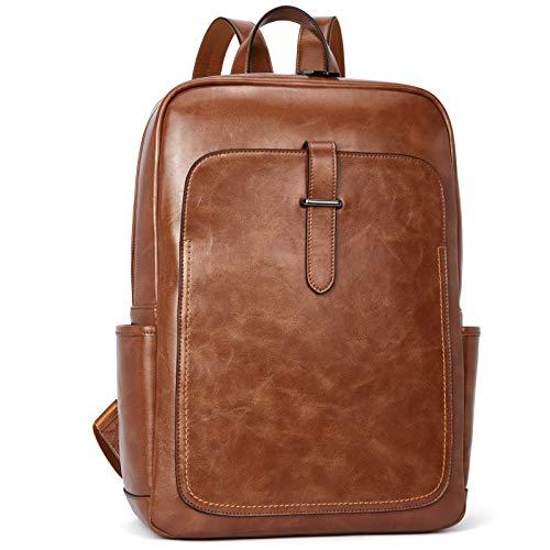 BROMEN Rucksack Damen Leder 15,6 Zoll Laptop Tagesrucksack Schulrucksack für Uni Arbeit Reisen, Braun