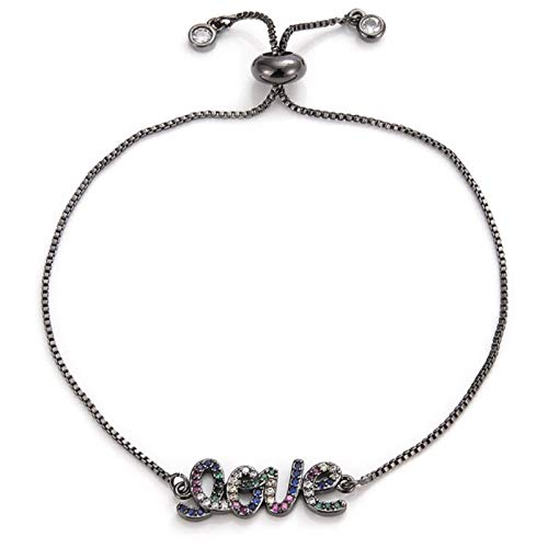 FUKAI Romantic Love Letter Charm Bracelet Multicolor Cubic Zirconia Crystal Bride Wedding Bracelet Female Couple Jewelry (Color : Black)