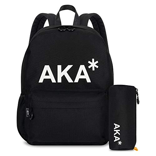 AKA* Berwick Backpack - Black Waterproof School Bag with Laptop Compartment & Free Pencil case - Designer Schoolbag