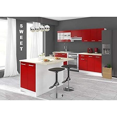 ILOT Central Ultra Ilot de Cuisine L 100 cm avec Plan de Travail - Rouge Mat