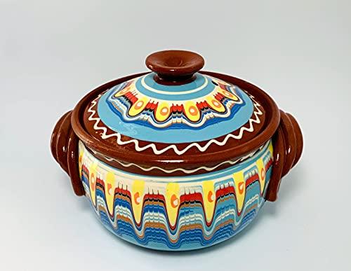 Tontopf, Bräter, Schmortopf mit Deckel, Güvec, 2 Liter, Keramik, Handarbeit, bulgarische Tradition (weiß, 2 Liter)