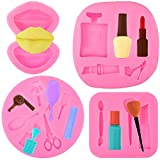 4 Pieces Mini Makeup Lips Silicone Mold Hair Tools Scissors Silicone Molds Perfume Lipstick High Heel Molds 3D Fondant Cake Mold for Resin Clay Chocolate Pudding, Candy, Jelly