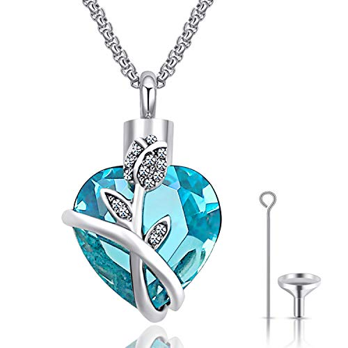 Urn Necklaces for Ashes Nolonger by My Side But Forever in My Heart Urns for Human Ashes Cremation Jewelry (Flower Crystal)