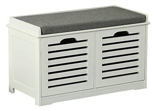 Orolay Banco de Almacenamiento con Acolchados Cojines y 2 Cubos Entrada Zapato Gabinete Dresser Cómodo