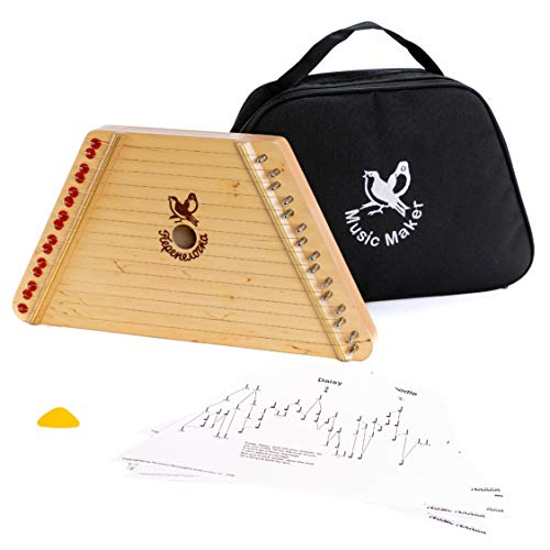 European Expressions Music Maker Lap Harp with Sheet Music and Black Carrying Case