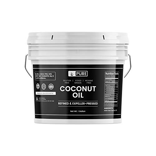100% Refined Coconut Oil (1 Gallon) Hexane-Free & Gluten-Free, Expeller-Pressed & Non-Hydrogenated, Vegan, Paleo & Keto Friendly, Sustainably Sourced, Made in USA, BPA-Free Bucket