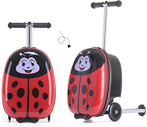Kids Scooter Bagage Kinderen trolleykoffer opvouwbare scooter bagage jongen en meisje student cartoon skateboard bagage for kinderen, Blue bear Leuk speelgoed voor kinderen. (Color : Ladybug)