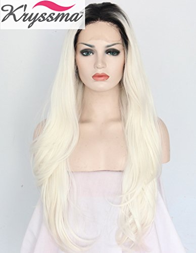K'ryssma Realistic Blonde Ombre Black Roots Long Natural Looking Wigs for Women Soft Synthetic Hair Lace Front Wig UK High Quality Best Heat Resistant Fiber 24 inches