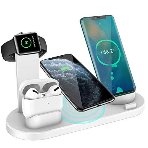Yaature 6 en 1 Cargador Inalámbrico para Apple Watch 5/4/3/2/1 & Airpods Pro/2/1, Estación de Carga Soporte de Carga Rápido para Phone 11/11 Pro/XS/XR/X/8, Samsung y más con un Puerto de Salida USB