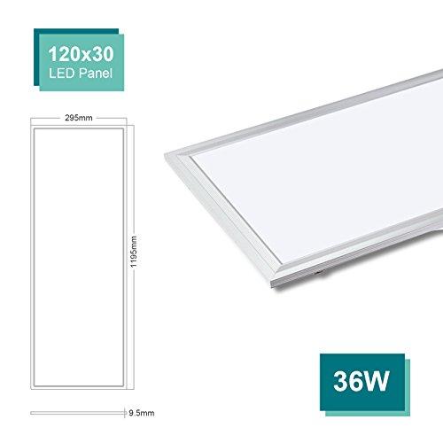 OUBO LED Panel Deckenleuchte 120x30cm Naturweiß, 36W, 3600 lumen, 4000K, dünn Ultraslim, Silberes Gehäuse, Wandleuchte für Wohnraum, Bad, Flur, Wand, Decke, Küchen