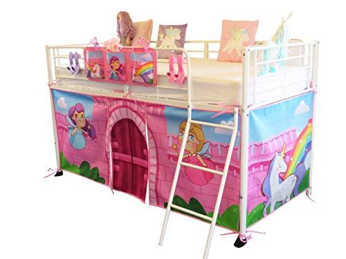 HedgehogEmporium Midsleeper Tent and storage Pocket for Cabin Bed, Mid sleeper Fairy, Unicorn, Castle, Rainbow