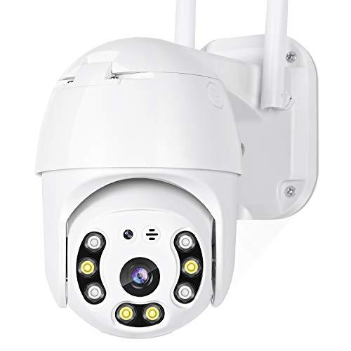 Cámara de seguridad exterior HD 1080P domo IP cámara panorámica/inclinación/zoom con visión...